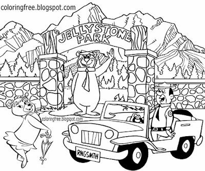 Cool water park ranger yogi bear campground location main entrance gate coloring sheet for children