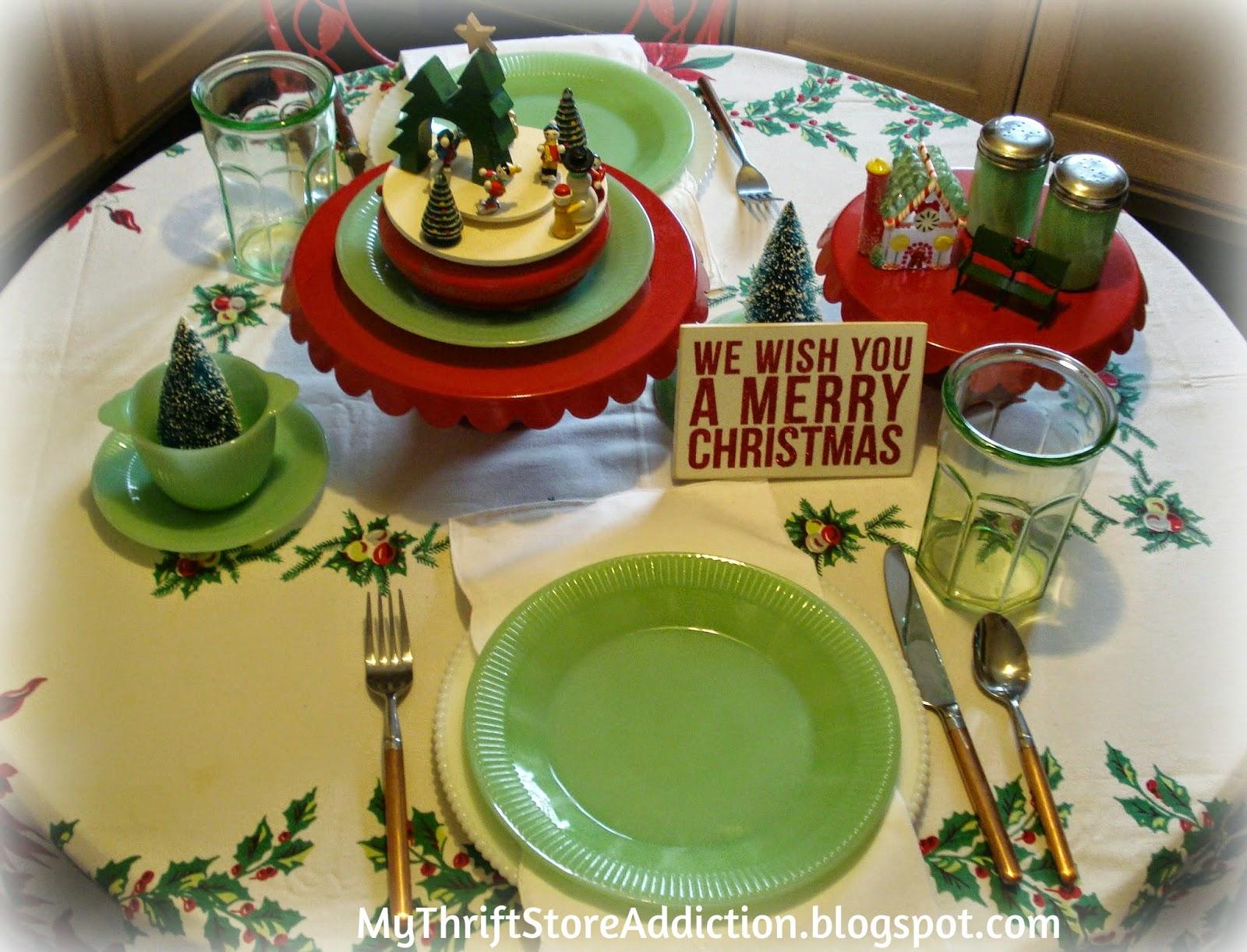 Vintage jadeite Christmas tablescape