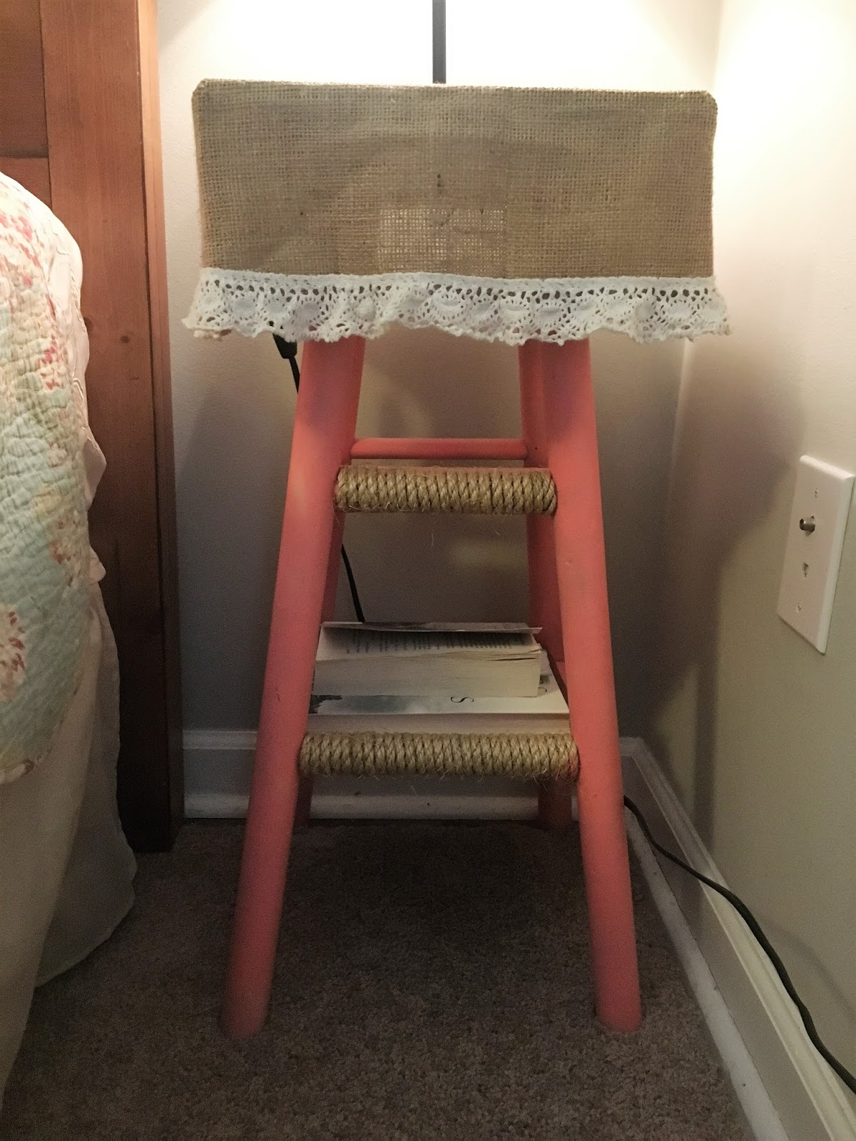 Stool Bedside Table: Our DIY Bedside Table (from A Bar Stool