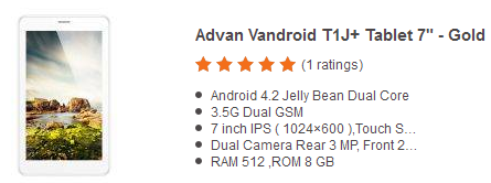 Harga Tablet Advan Vandroid T1J+