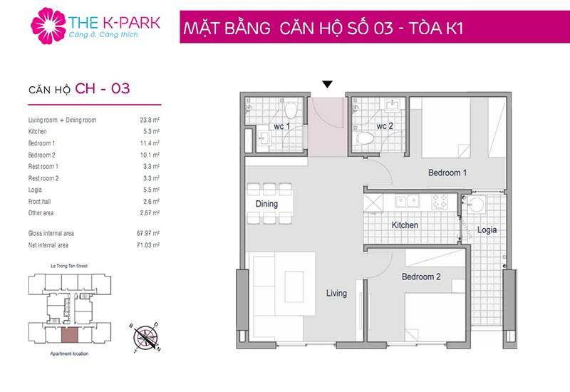 Mặt bằng căn hộ The K-Park-1wc