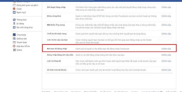 Kiểm tra nơi đăng nhập bảo vệ tài khoản Facebook