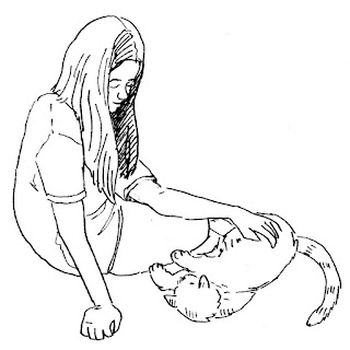 drawing of a girl sitting on the floor petting her cat by David Borden from the book, Make America Purr Again.