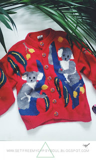 Adorable Vintage Koala Intarsia Knit Oversized Cardigan : Thriftstore Thursday
