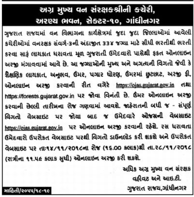 Gujarat Forest Department Recruitment for 334 Forest Guard