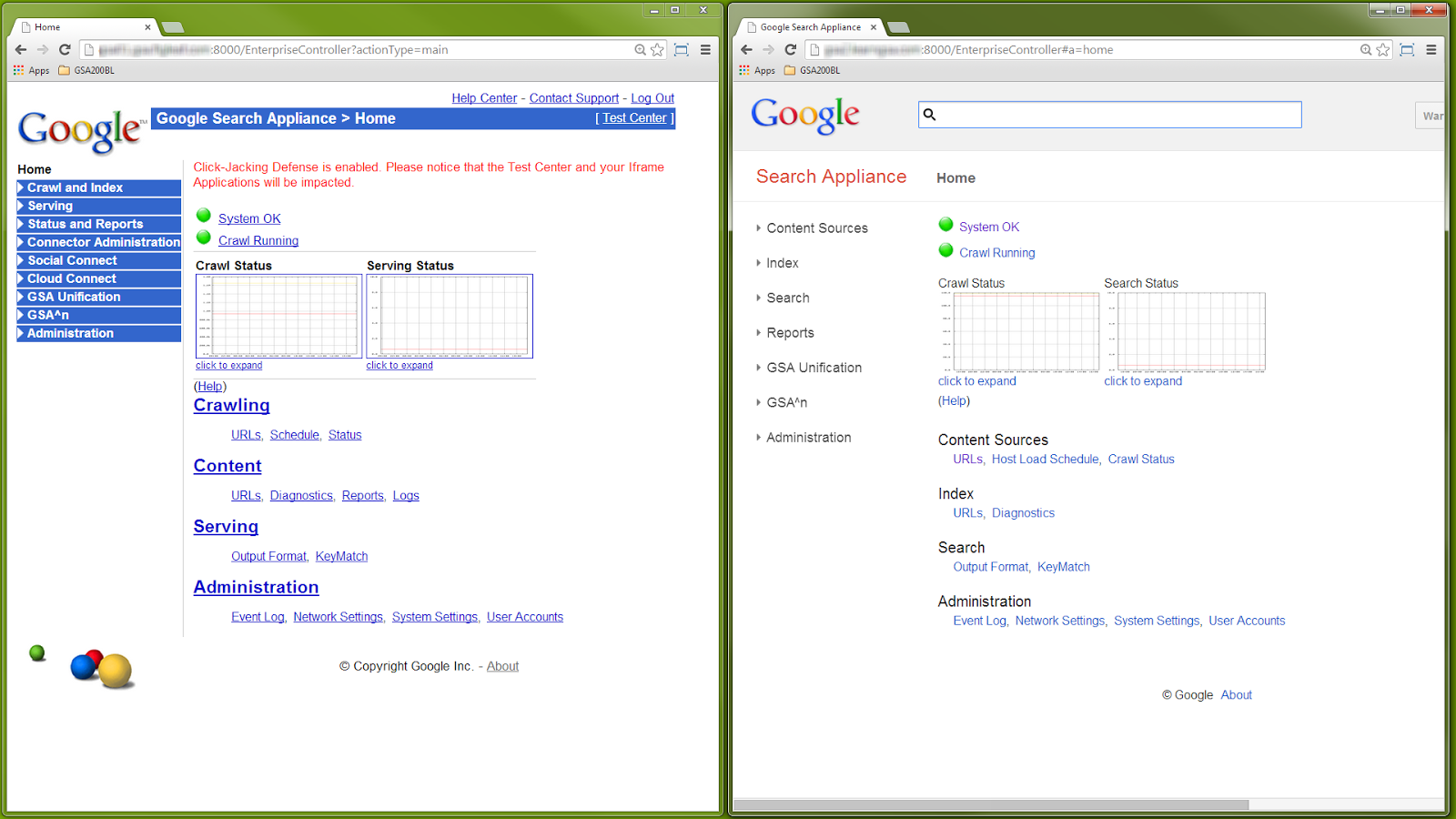 GSA Admin Console home screens - 7.0 on the left, 7.2 on the right