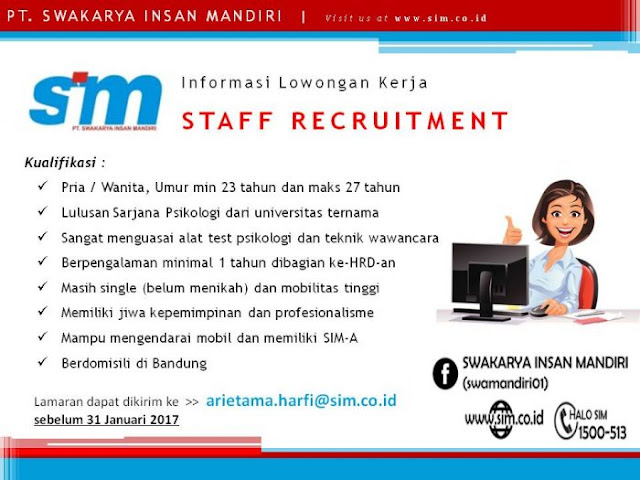 Lowongan Kerja Staff Recruitment PT. Swakarya Insan Mandiri