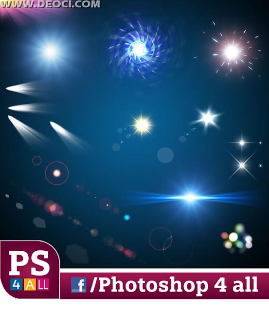 سكرابز اضاءات للفوتوشوب  صور مقصوصة لنجوم واشعة وخطوط ملونة للتصميمات الاحترافية والمبهجة والمتميزة