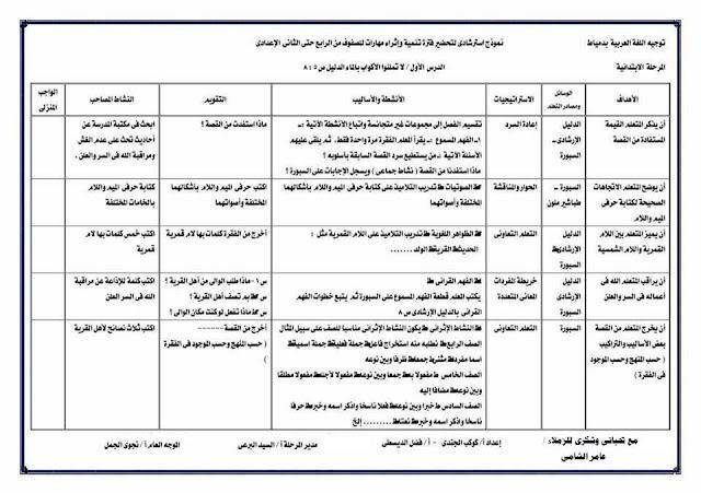 تحضير حصة مهارات اللغة العربية 2018
