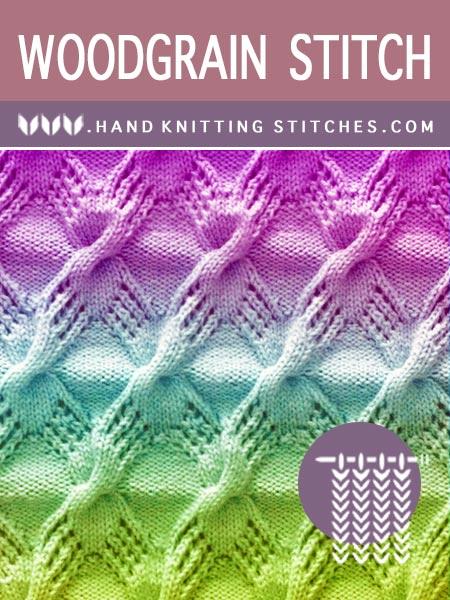 Hand Knitting Stitches - Woodgrain Lace Pattern #knitlace