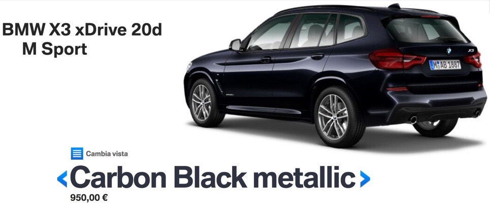 colori nuova bmw x3 2017 2018 Carbon Black metallic