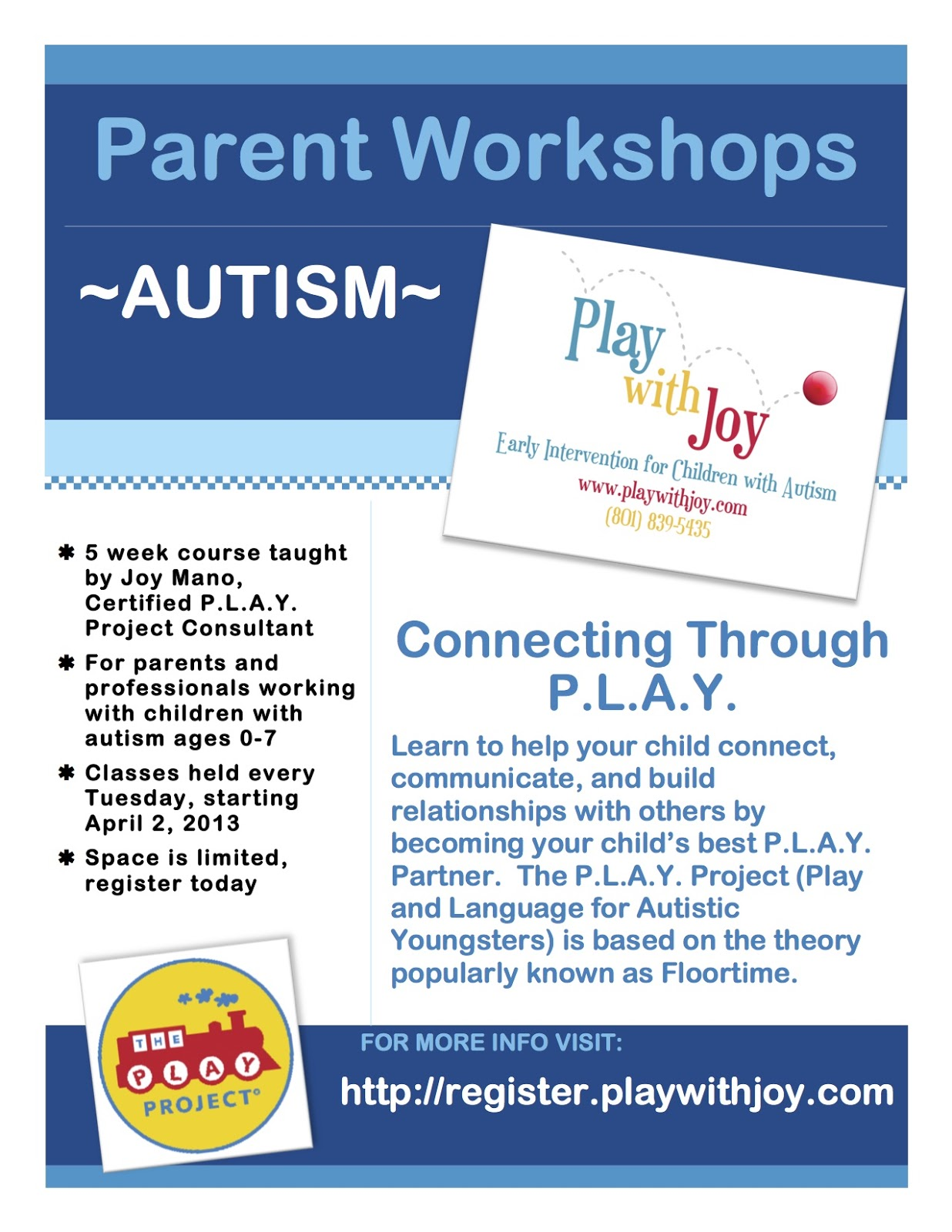 PLAY WITH JOY LLC Autism munity Ed Class for Parents and