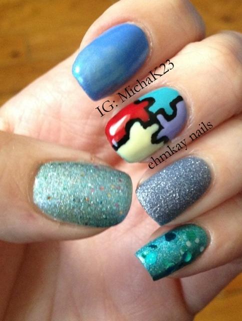 Ehmkay Nails: Autism Awareness Nails