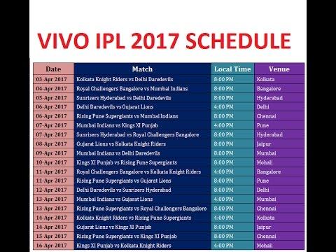 IPL 2017 schedule/IPL 2017Fixture|IPL 2017 Time Table
