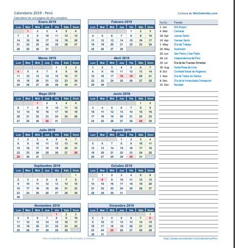 Calendario 2019 de peru de una Página