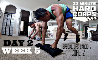 Day 2 Week Five 22 Minute Hard Corps Challenge, 22 Minute Hard Corps Challenge Special Ops Cardio and Core 2, Beachbody on Demand, Spartan Race Training