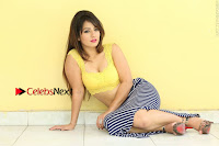 Cute Telugu Actress Shunaya Solanki High Definition Spicy Pos in Yellow Top and Skirt  0301.JPG