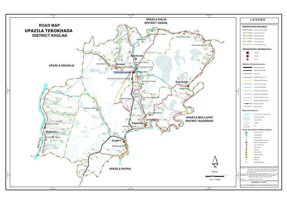 Terokhada Upazila Road Map Khulna District Bangladesh