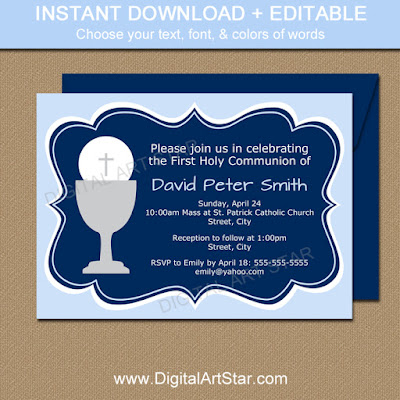 printable first communion invitations for boys in blue & navy with editable text