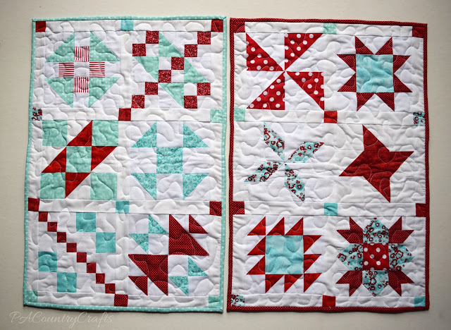 Red and Aqua Sampler Doll Quilts