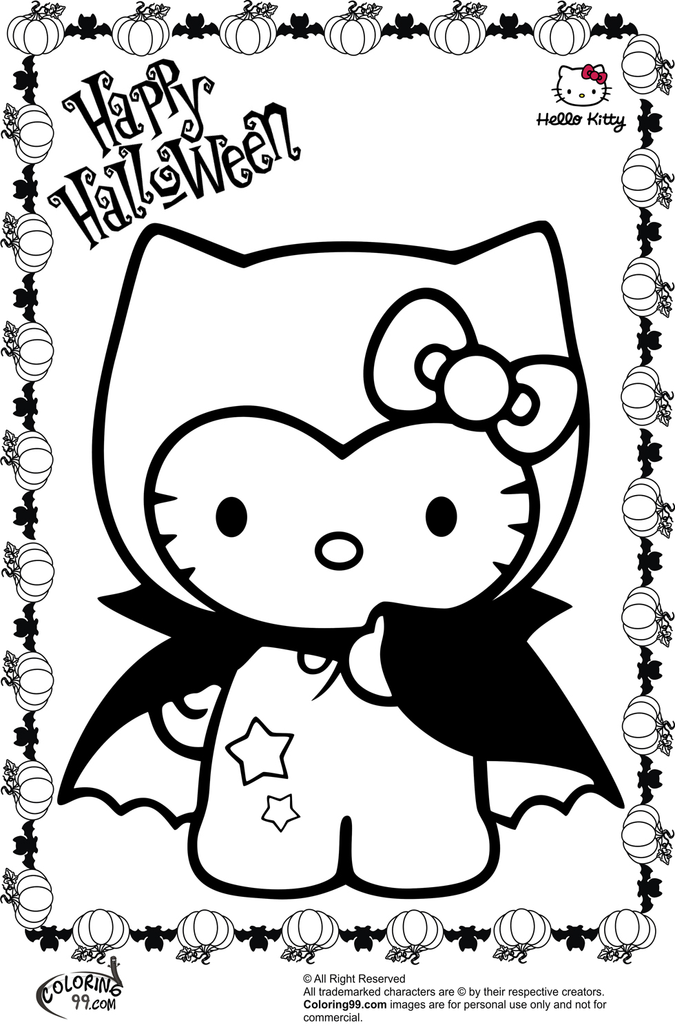 Hello kitty halloween coloring pages team colors for Hello kitty coloring pages print