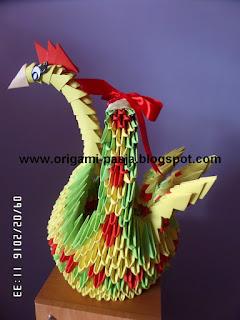 Kura, wielkanoc, kogut, papier, origami 3d,