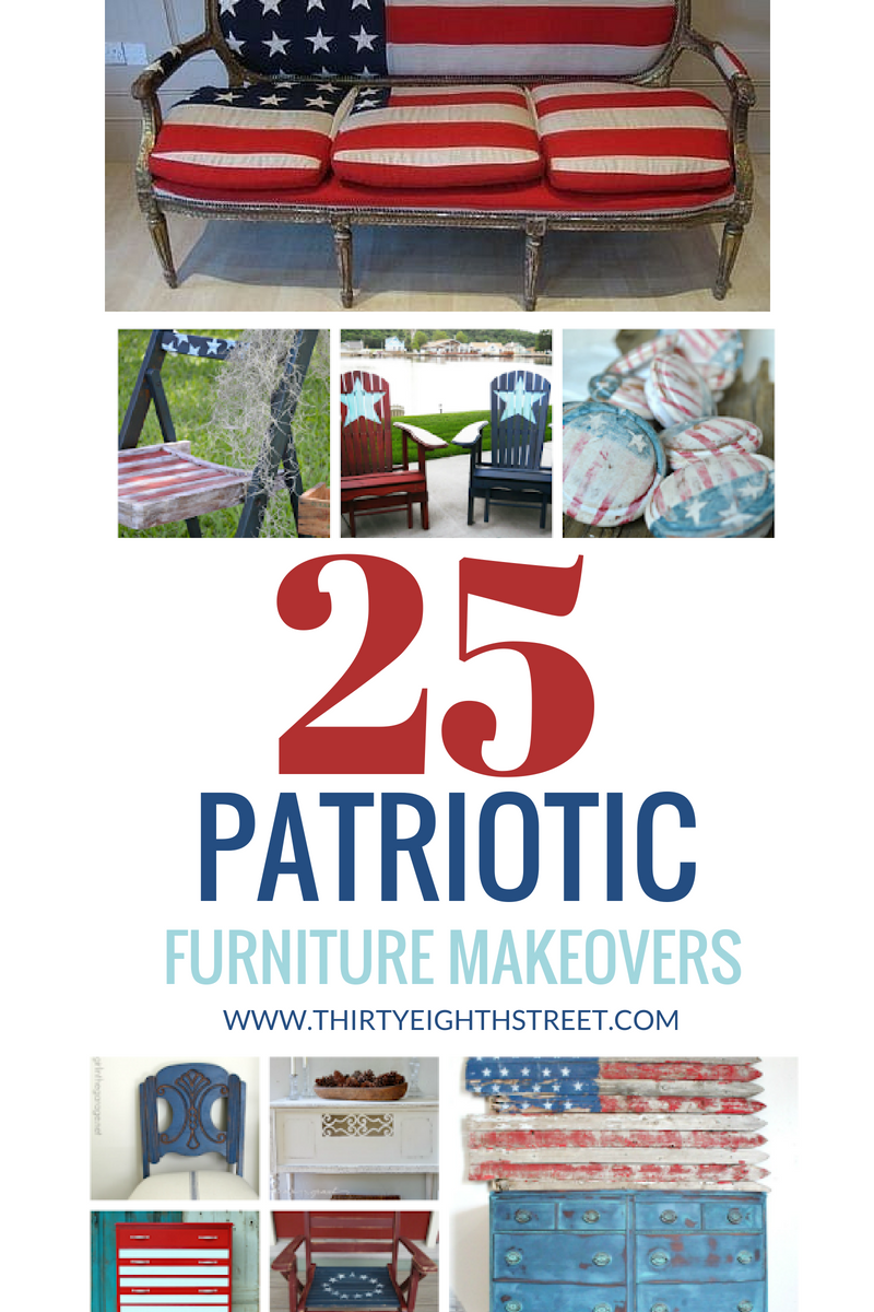 4th of July furniture, Fourth of July decor, Patriotic decor ideas, diy 4th of july, red painted furniture, blue painted furniture, white painted furniture, 4th of july decor