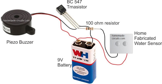 rain sensor using single transistor, piezo buzzer, 9V battery