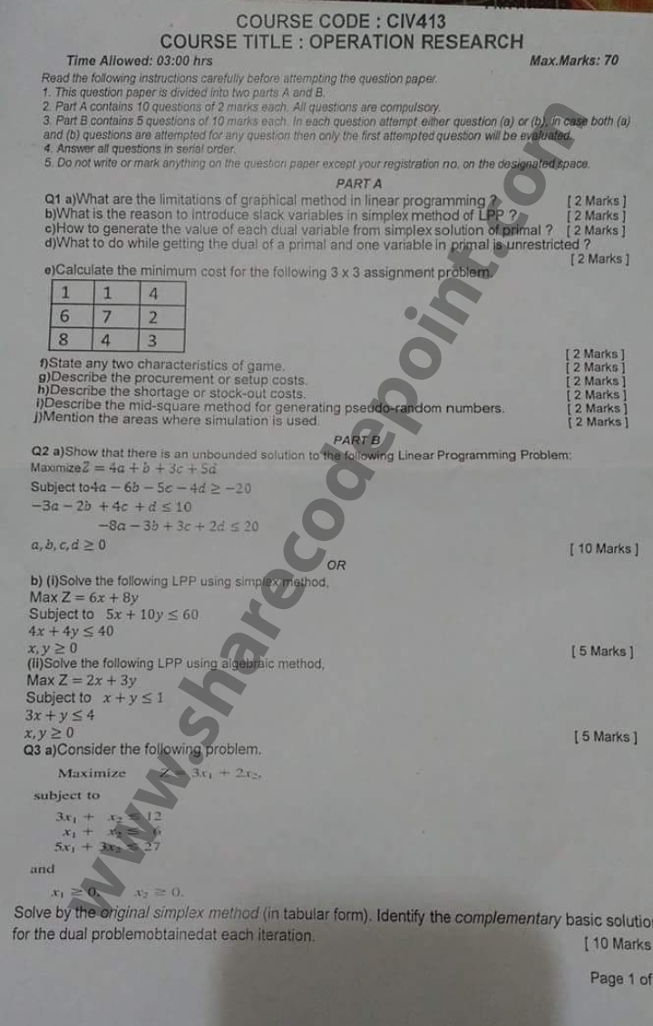 CIV413 : Operation Research End Term Exam Question Paper