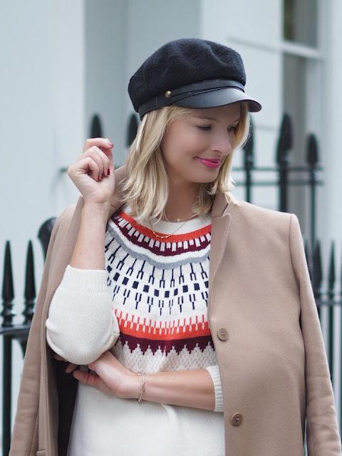 sweater weather, boden jumper, boden edith jumper, patterned jumper, baker boy hat, camel coat, cos camel coat, london blogger