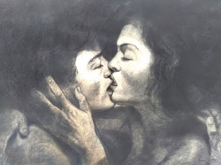 el beso dibujo de arte erotico