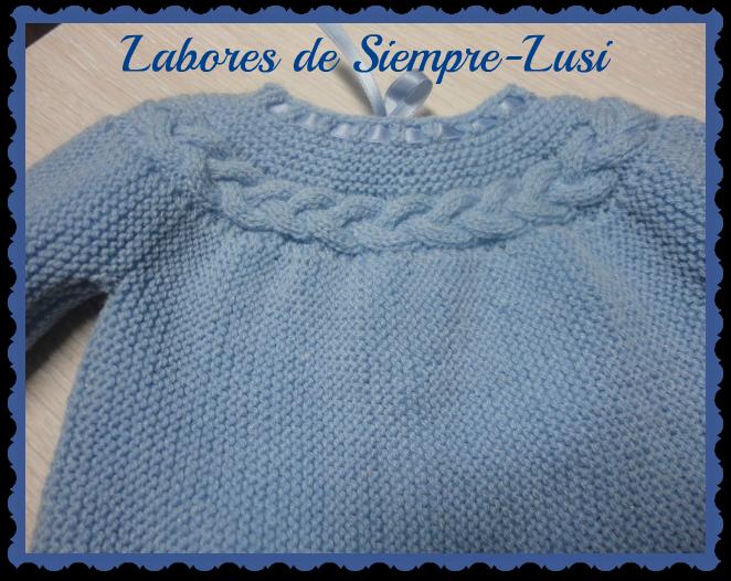 Labores de siempre jersey beb con trenza - Como hacer un jersey de punto ...