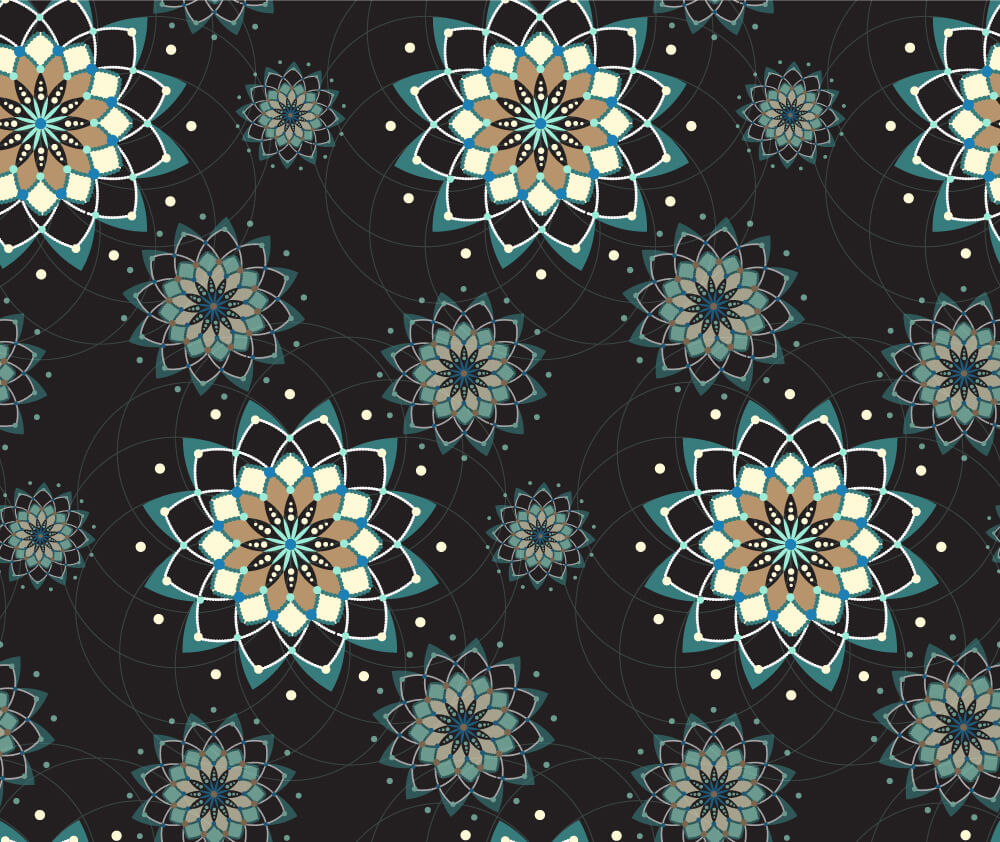 Geometric flowers on black background