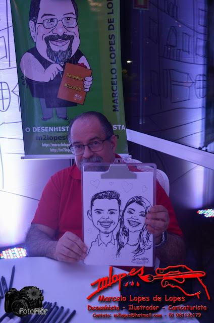 Caricaturas ao vivo com o Desenhista Marcelo Lopes de Lopes