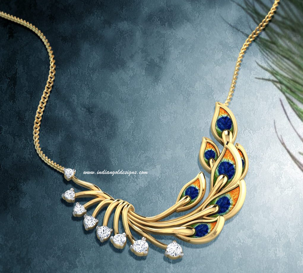 Gold and Diamond jewellery designs: Tanishq gold pendant