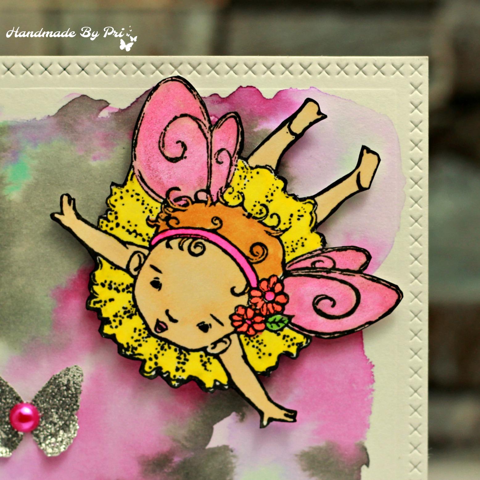 Pink Glitter Embossing Powder Paper Craft