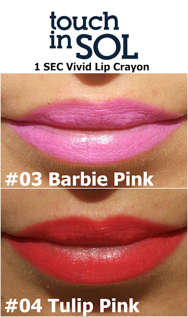 Touch in Sol One Second Vivid Lip Crayon in #4 Tulip Pink and #3 Barbie Pink, swatches by Valentina Chirico