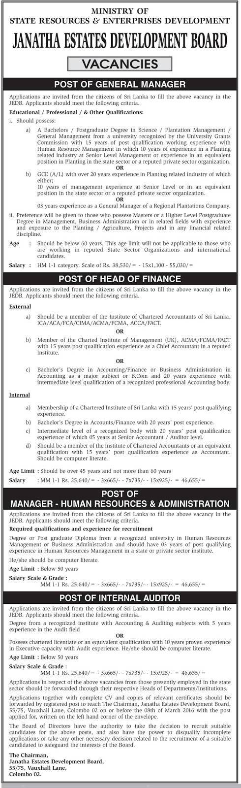 Vacancies – General Manager – Head of Finance – Manager (Human Resources & Administration) – Internal Auditor – Janatha Estates Development Board - Ministry of State Resources & Enterprises Development