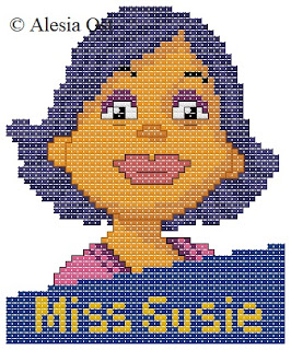 Free cross-stitch patterns, Sid the Science Kid, Miss Susie, cartoon, cross-stitch, back stitch, cross-stitch scheme, free pattern, x-stitchmagic.blogspot.it, вышивка крестиком, бесплатная схема, punto croce, schemi punto croce gratis, DMC, blocks, symbols, patrones punto de cruz, #crossstitch_pattern, #crossstitch