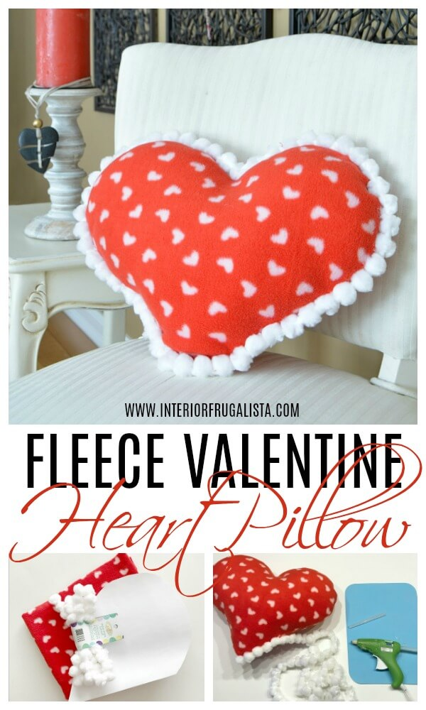 An easy handmade Valentine's Day Pillow idea. If you can sew a straight line then you can make this adorable fleece heart pillow with pompom trim in around 15 minutes. Sewing machine optional! #heartpillow #diypillow #bemyvalentine #valentinepillow