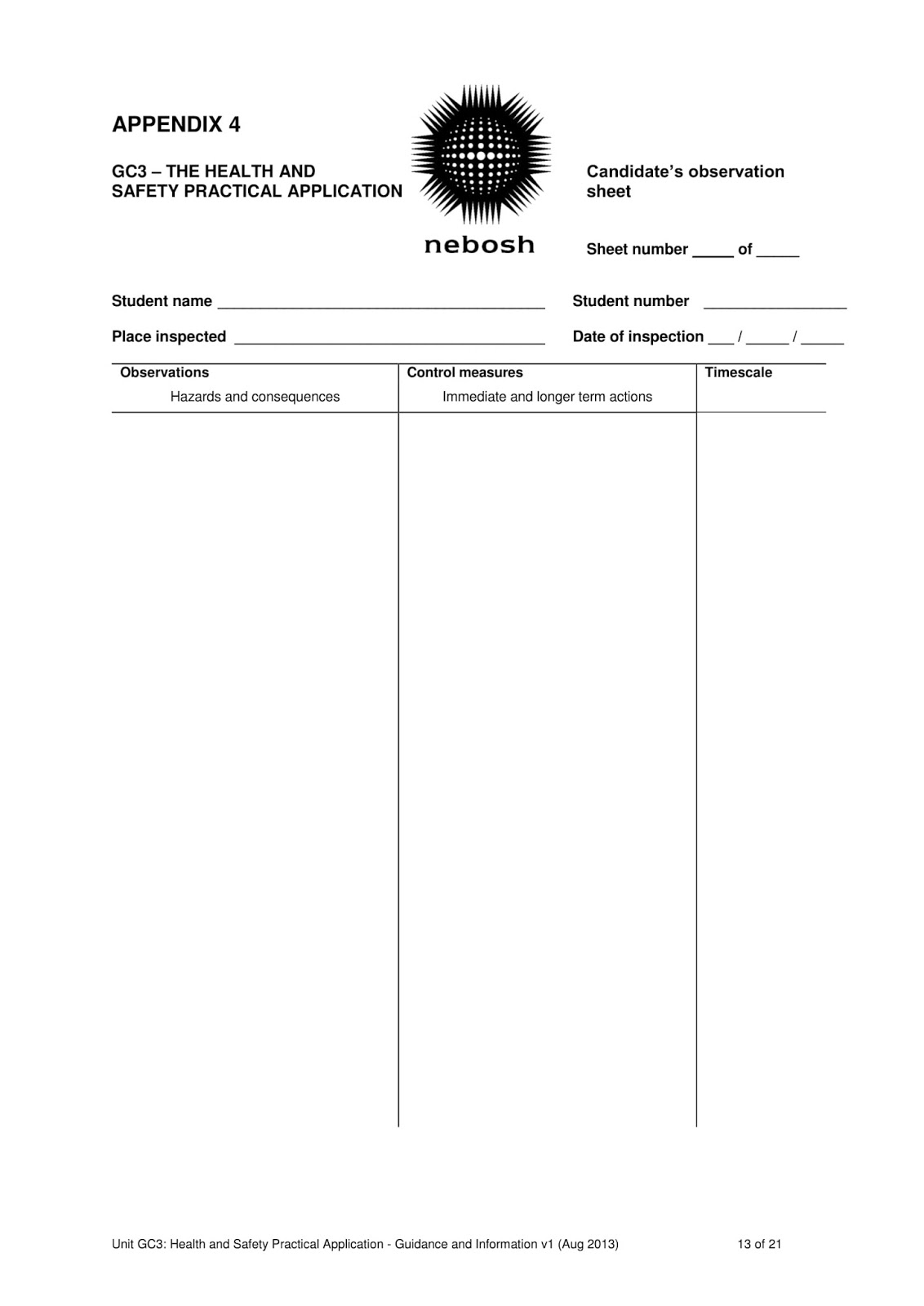 nebosh observation sheet example
