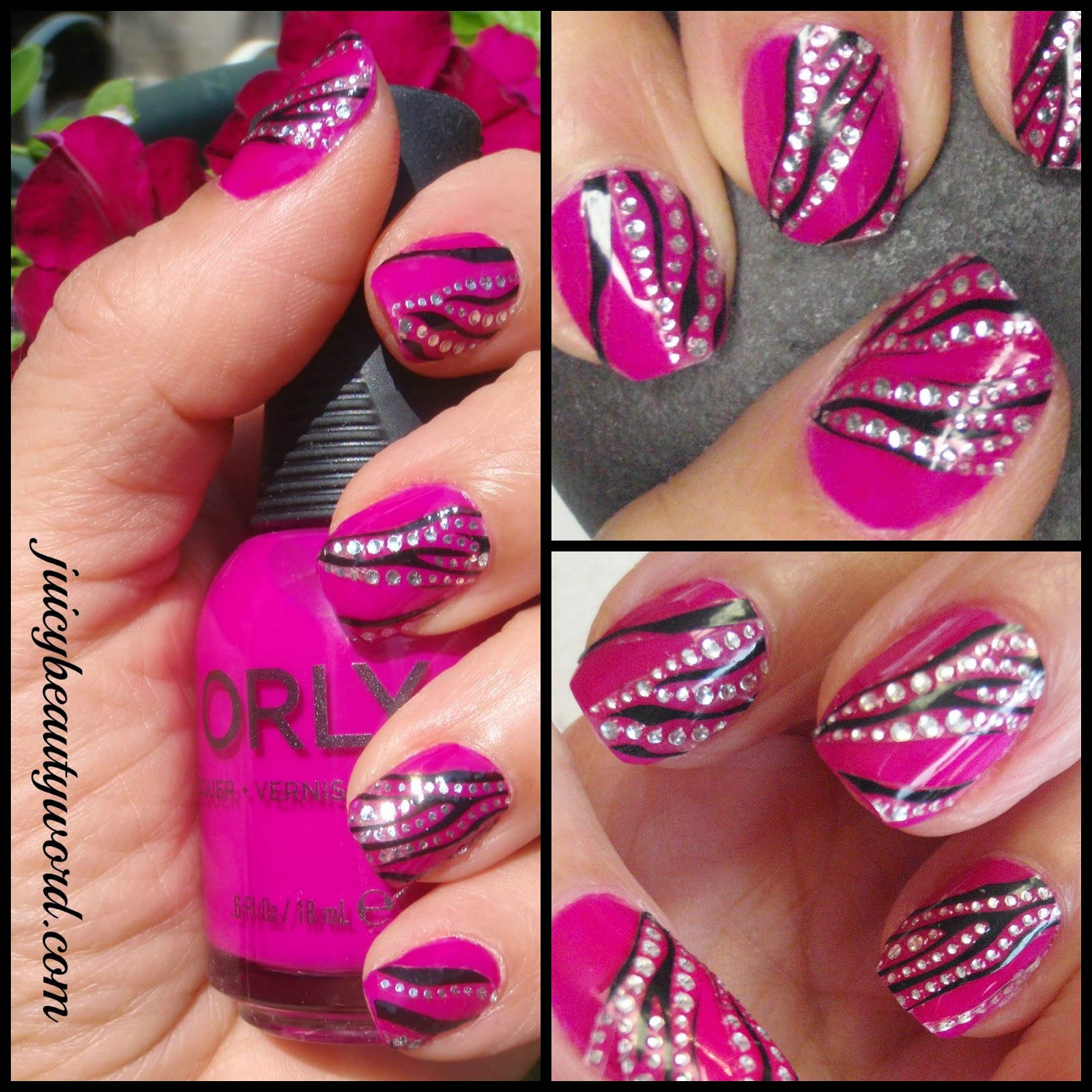 stripy sparkly nail design collage