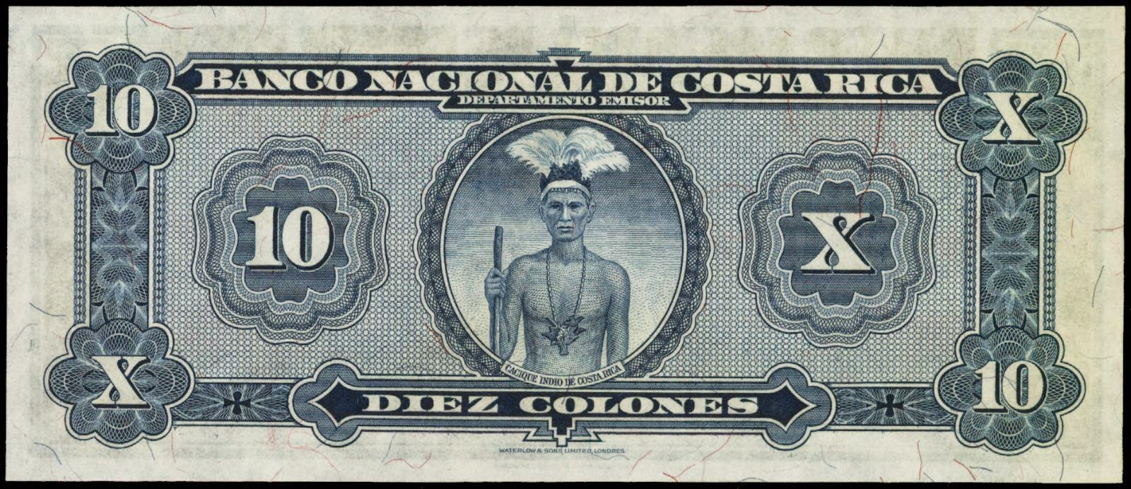 Currency of Costa Rica 10 Colones banknote 1940 Indian chief