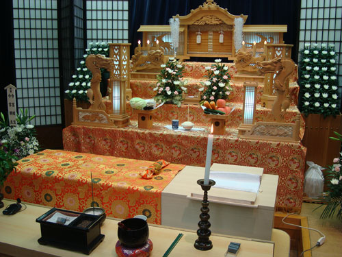 Funeral altar and coffin
