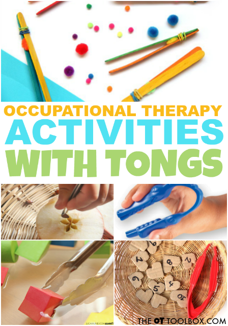 Try these occupational therapy activities using tongs to improve many fine motor skills needed for tasks like handwriting, clothing fasteners, and scissor skills!