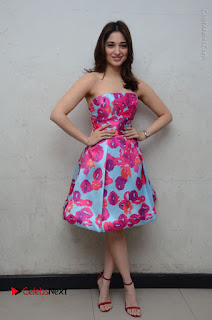 Actress Tamanna Latest Images in Floral Short Dress at Okkadochadu Movie Promotions  0177.JPG