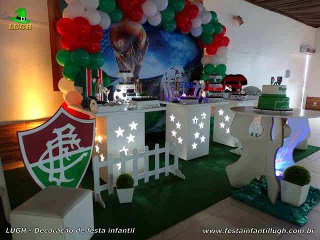 Mesa decorativa do bolo tema Fluminense - Aniversário infantil