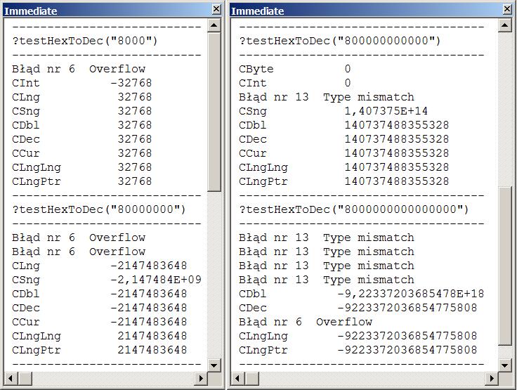 Cd. testu funkcji HexToDec