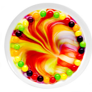Rainbow skittles dissolving in water science experiment for kids