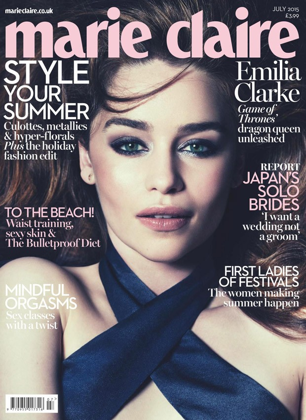 Emilia Clarke poses for Marie Claire UK's July 2015 edition
